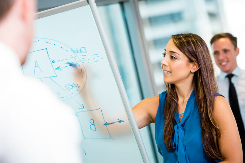 young woman in blue blouse writing on transparent whiteboard with colleagues looking posing for corporate photography